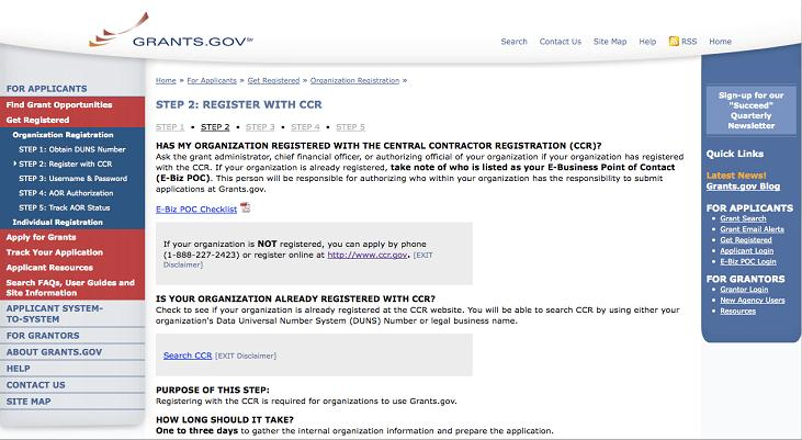 Register with Central Contractor Registry on grants.gov